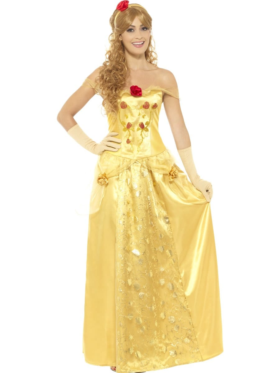 Golden Princess Long Ladies Fancy Dress Costume