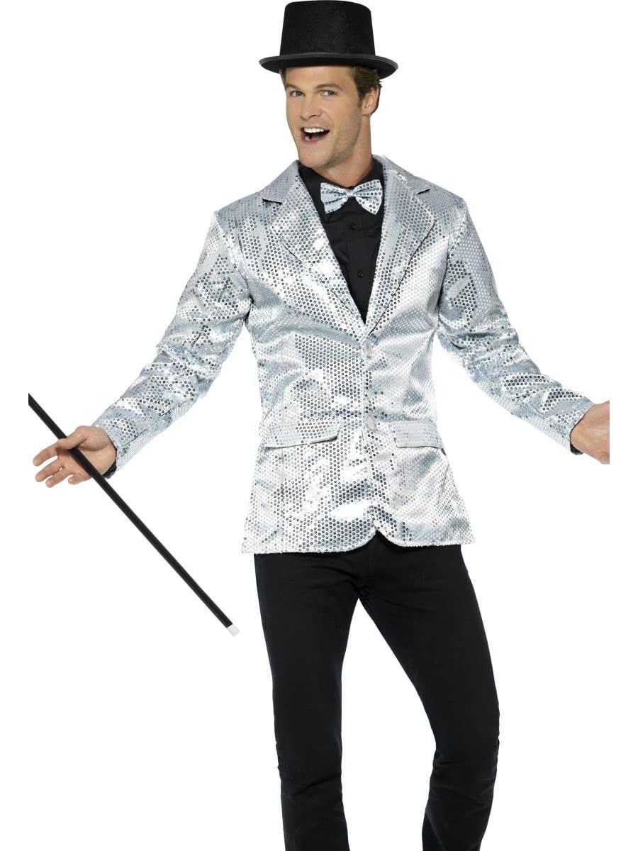 Sequin Jacket Silver Men's Fancy Dress Costume