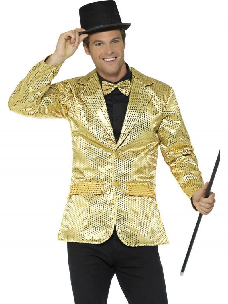 Sequin Jacket Gold Men's Fancy Dress Costume