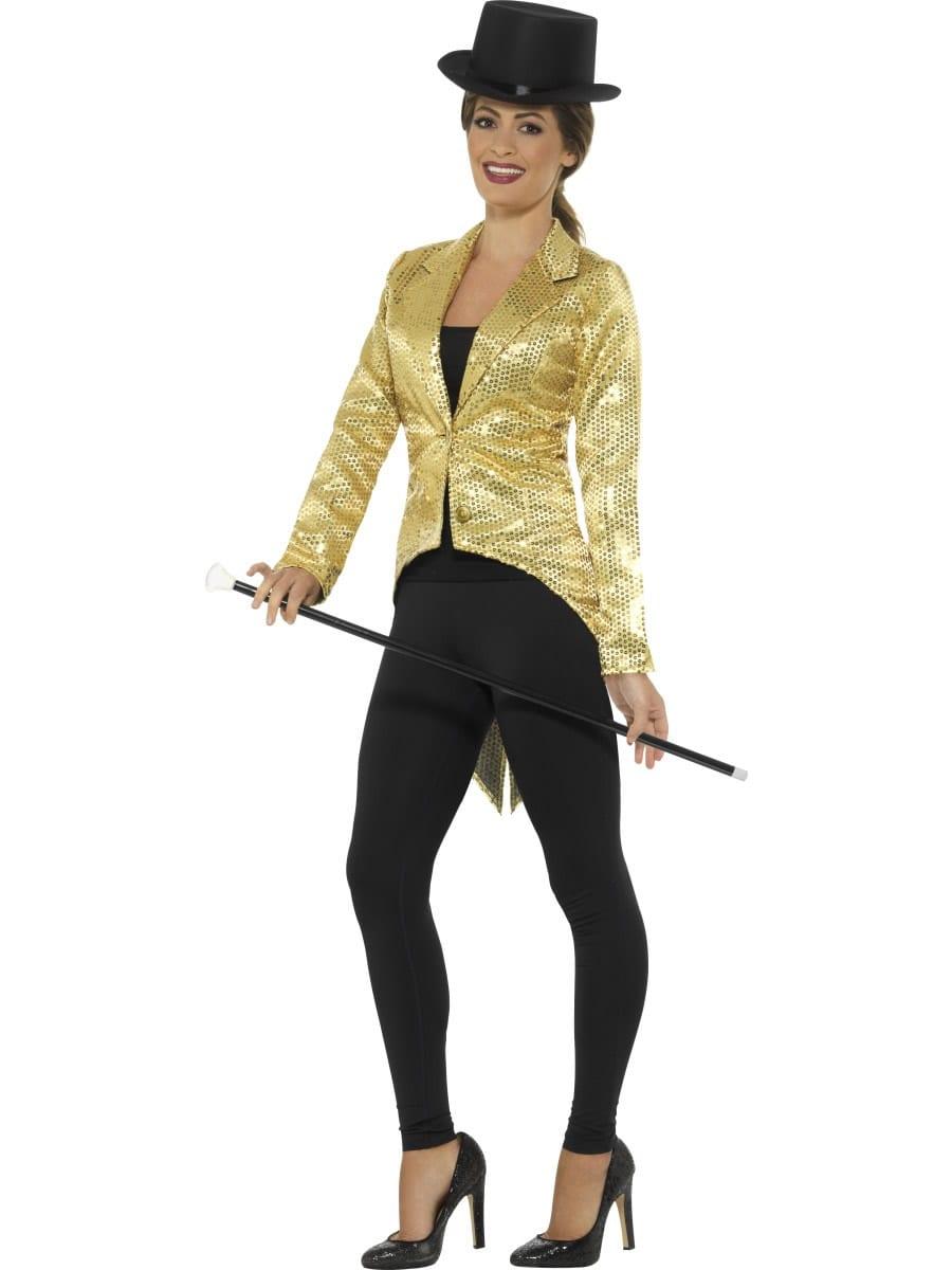 Sequin Tailcoat Jacket Gold Ladies Fancy Dress Costume