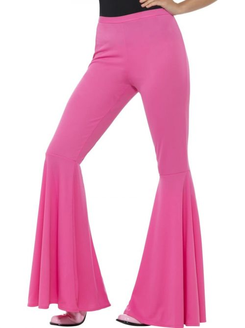 Pink Flared Trousers Ladies Fancy Dress Costume