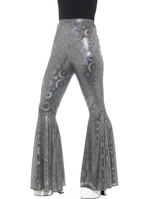 Silver Flared Trousers Ladies Fancy Dress Costume