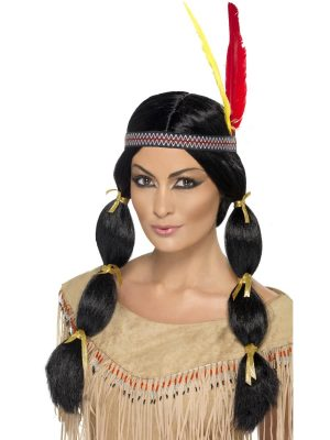 Native American Inspired Wig, Black, with Pigtails and Headband