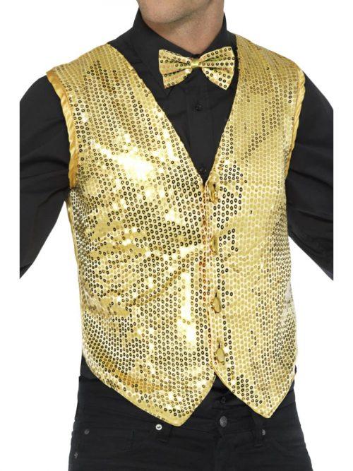 Sequin Waistcoat Gold Men's Fancy Dress Costume