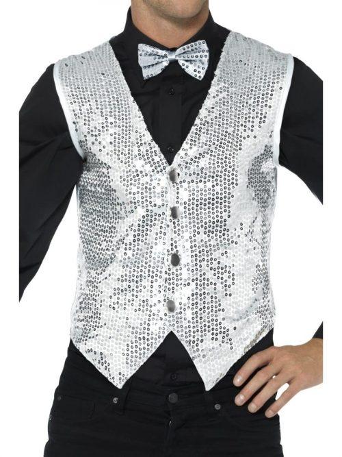 Sequin Waistcoat Silver Men's Fancy Dress Costume