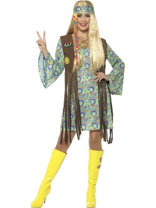 60's Hippie Chick Ladies Fancy Dress Costume