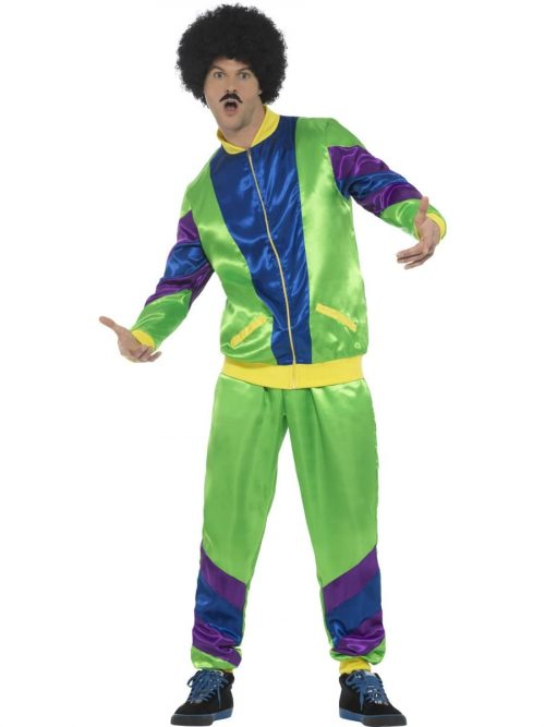 80's Height of Fashion Shell Suit Green Men's Fancy Dress Costume
