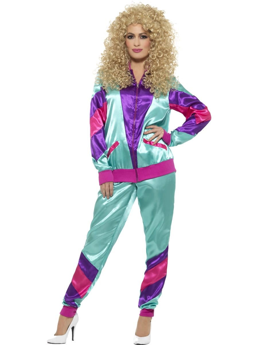 80's Height of Fashion Shell Suit Teal/Purple Ladies Fancy Dress Costume