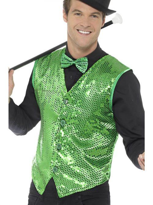 Sequin Waistcoat Green Men's Fancy Dress Costume