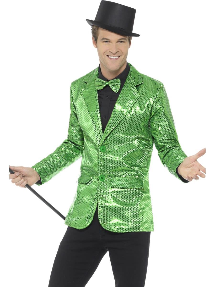 Sequin Jacket Green Men's Fancy Dress Costume