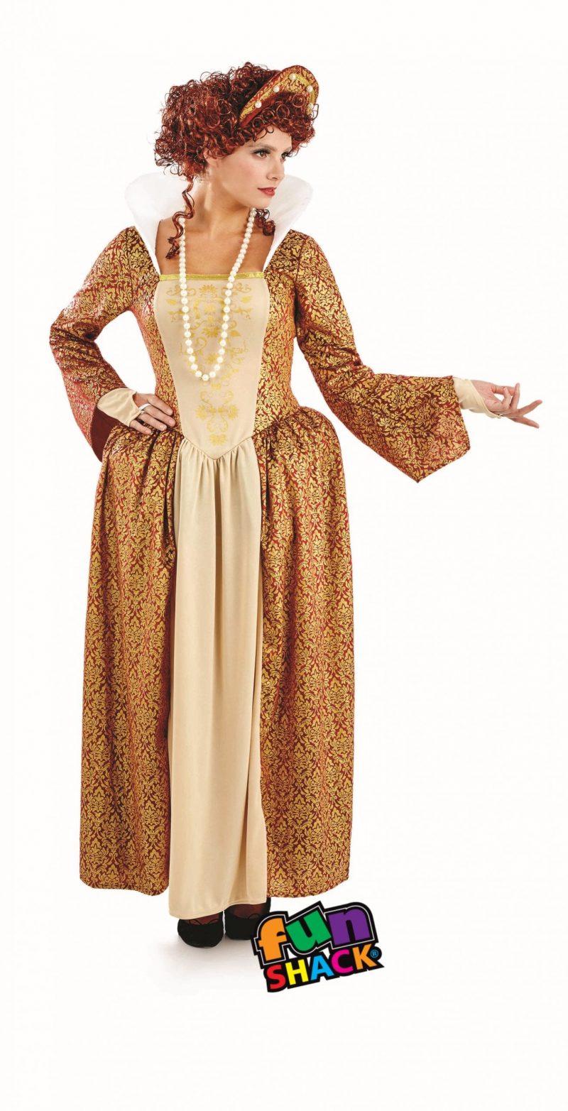 Tudor Queen Ladies Fancy Dress Costume