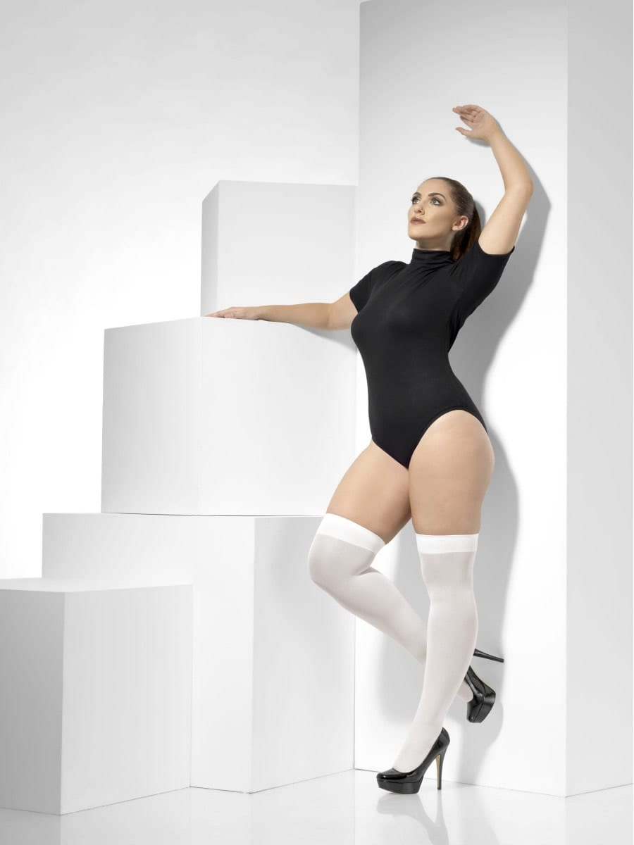 White Opaque Hold-Up Stockings Plus Size
