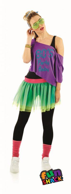 80's Print Tutu Kit Ladies Ladies Fancy Dress Costume
