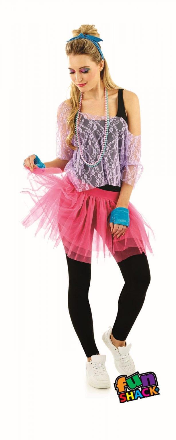 80's Lace Tutu Kit Ladies Ladies Fancy Dress Costume