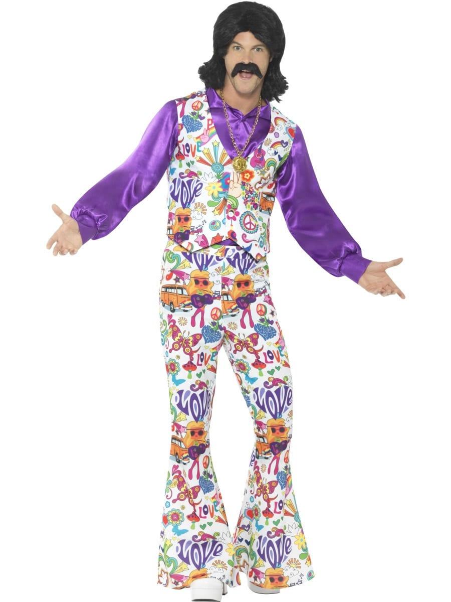 60's Groovy Hippie Men's Fancy Dress Costume