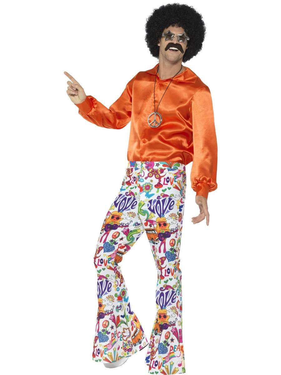 60's Groovy Flared Trousers Men's Fancy Dress Costume
