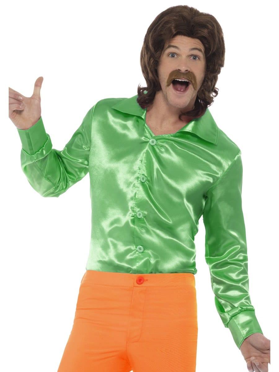 60's Shirt Green Men's Fancy Dress Costume