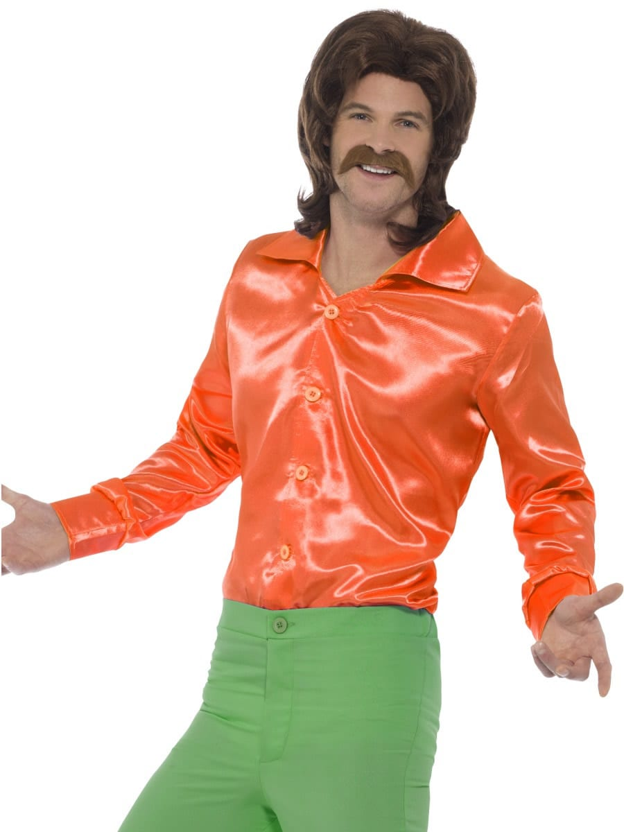 60's Shirt Orange Men's Fancy Dress Costume