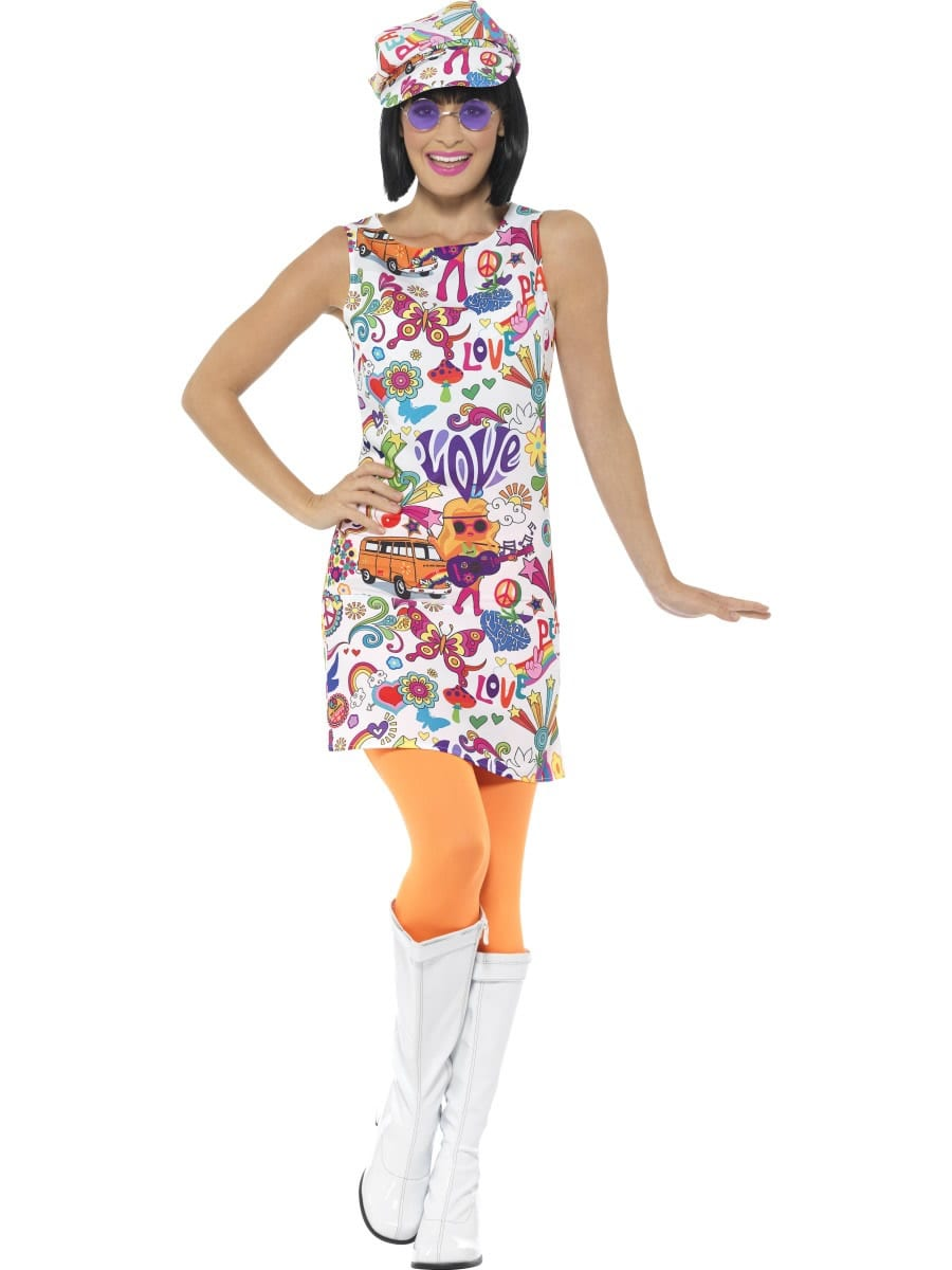 60's Groovy Chick Ladies Fancy Dress Costume