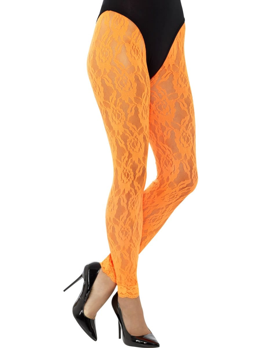80's Lace Leggings Neon Orange