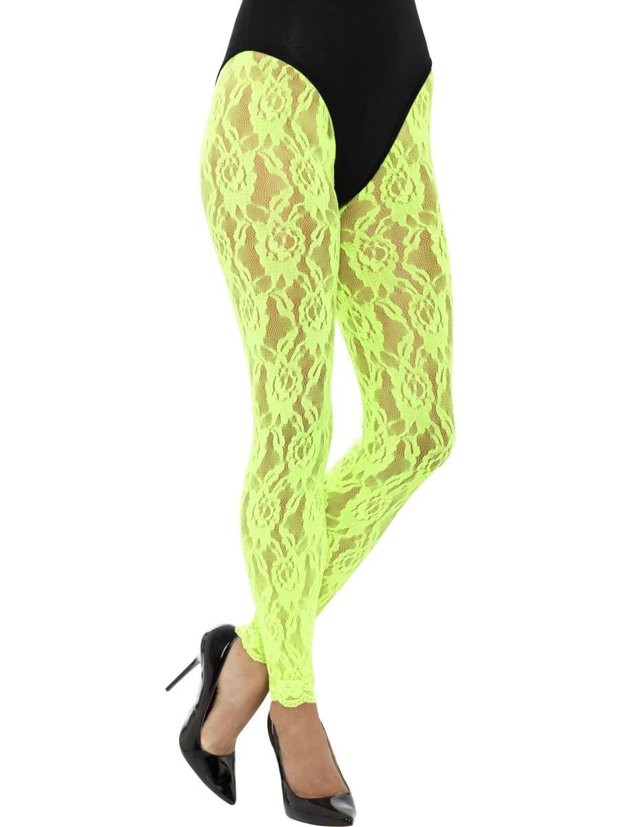 80's Lace Leggings Neon Green