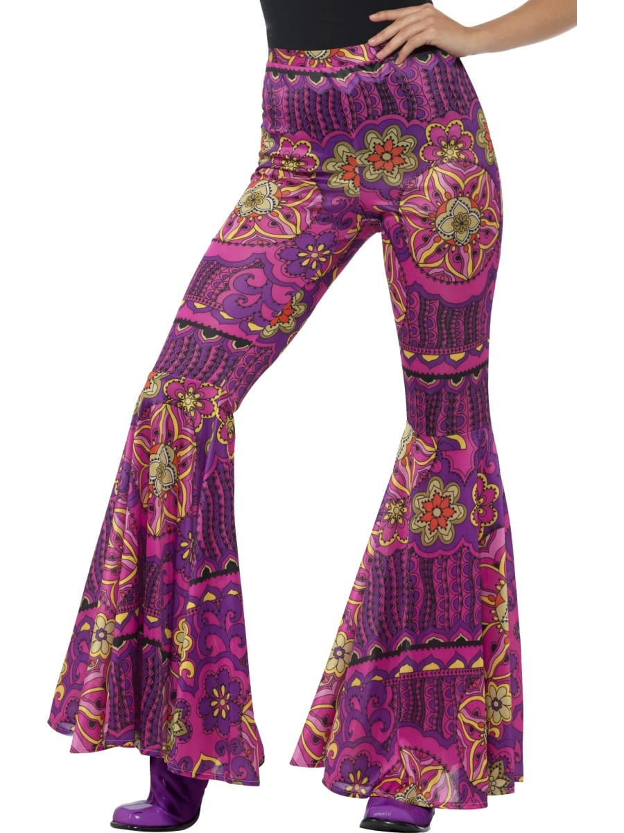 Pink Woodstock Pyschedelic Flared Trousers Ladies Fancy Dress Costume