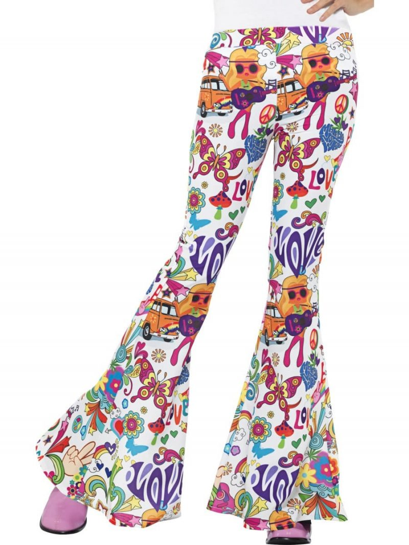 60's Groovy Flared Trousers Ladies Fancy Dress Costume