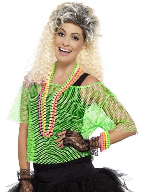 Fishnet Top, Neon Green Ladies Fancy Dress Costume