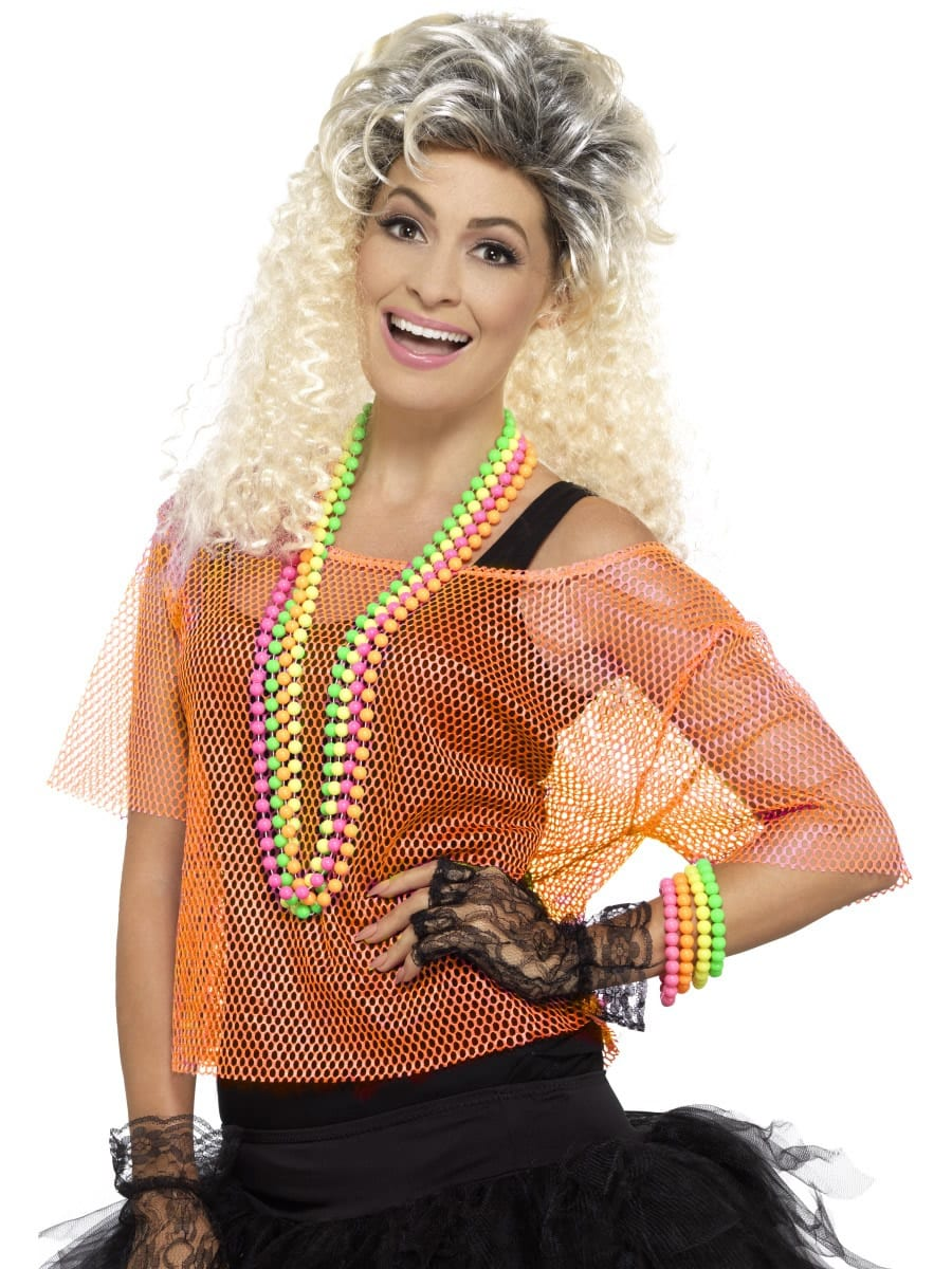 Fishnet Top, Neon Orange Ladies Fancy Dress Costume