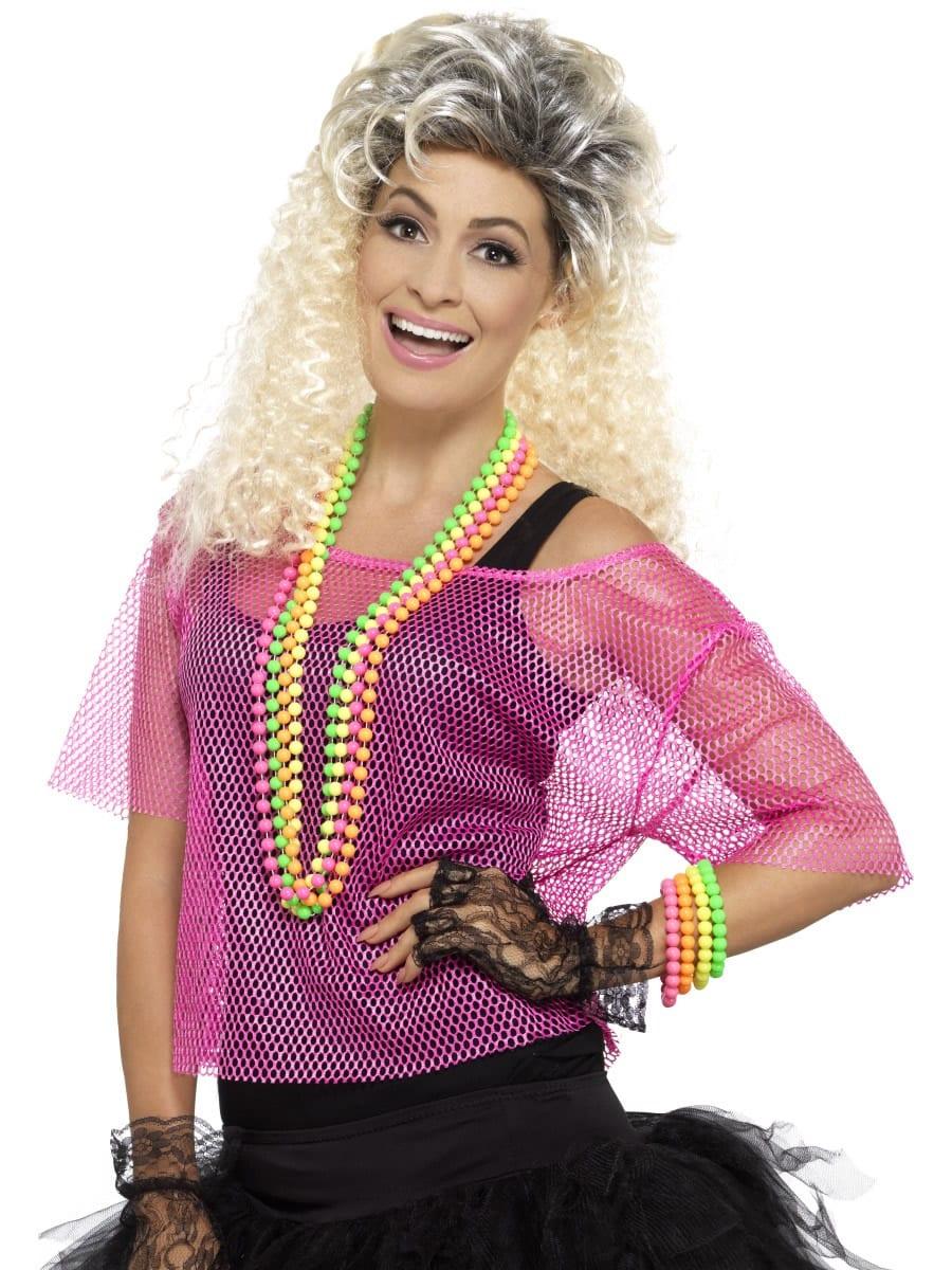 Fishnet Top, Neon Pink Ladies Fancy Dress Costume