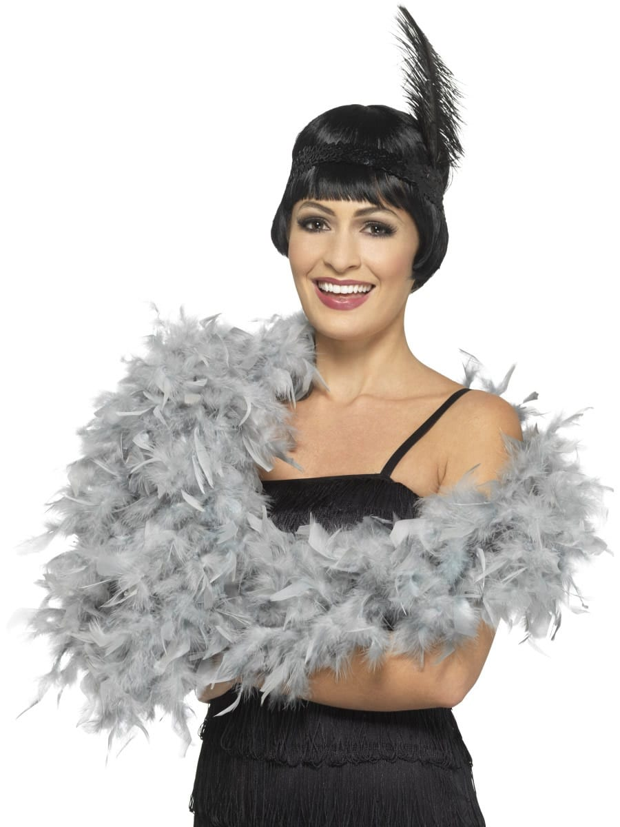 Silver Deluxe Feather Boa 80g