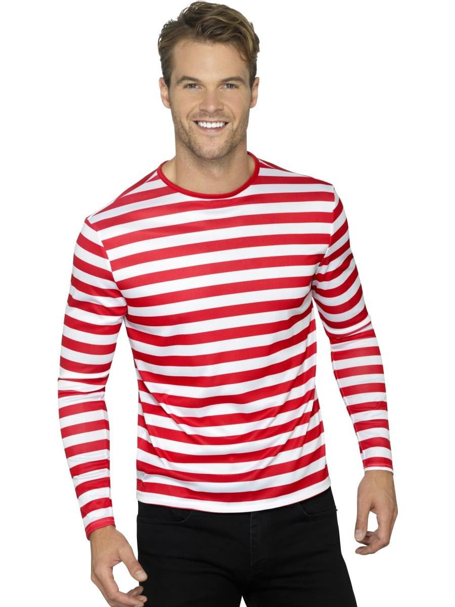 Stripy T-Shirt, Red Unisex Fancy Dress Costume