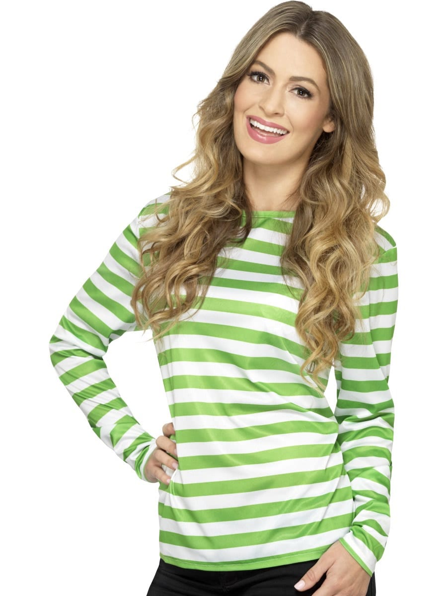 Stripy T-Shirt Green Unisex Fancy Dress Costume