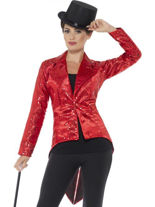 Sequin Tailcoat Jacket Red Ladies Fancy Dress Costume