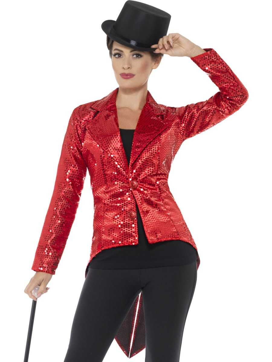 Sequin Tailcoat Jacket Red Ladies Fancy Dress Costume