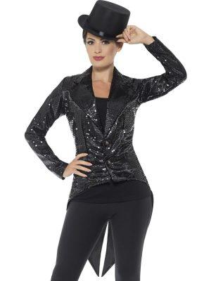 Sequin Tailcoat Jacket Black Ladies Fancy Dress Costume