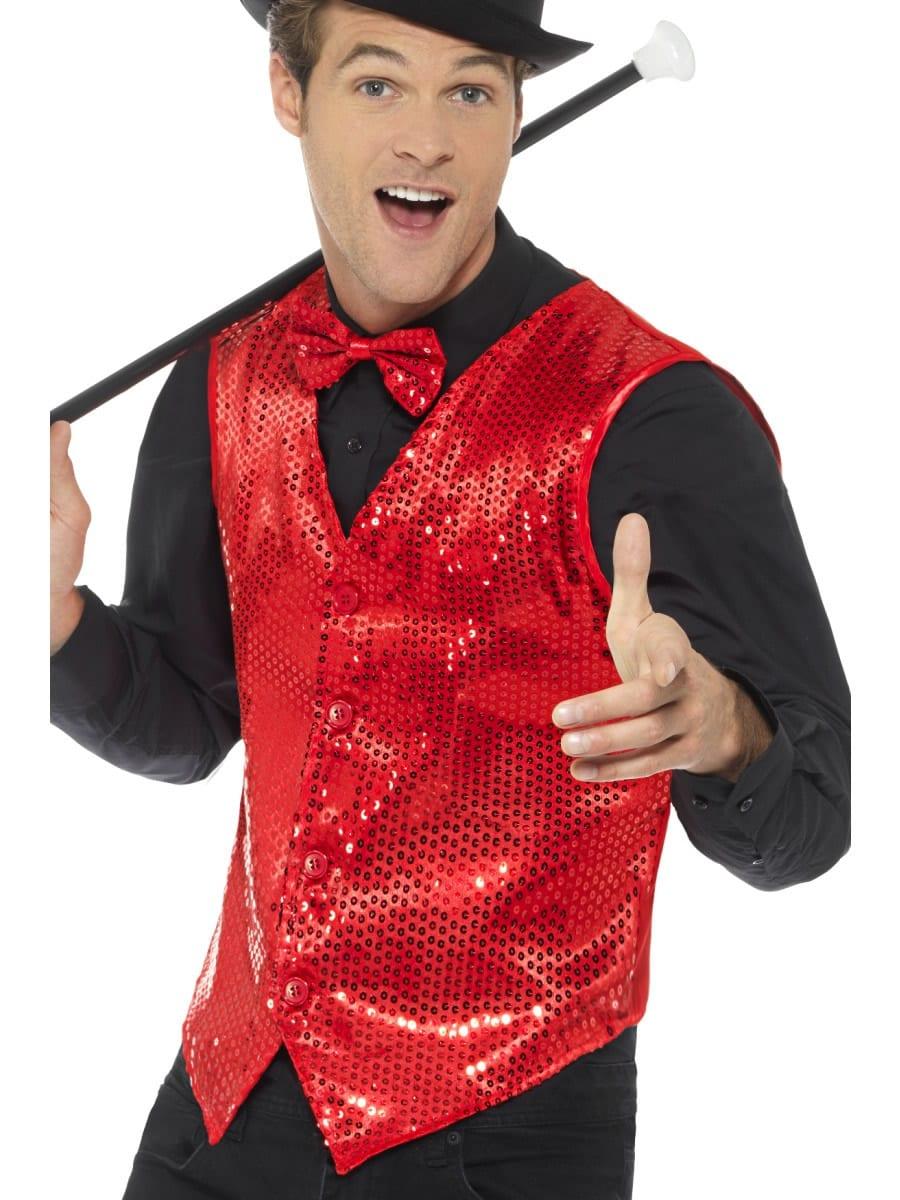 Sequin Waistcoat Red Men's Fancy Dress Costume