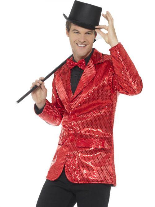 Sequin Jacket Red Men's Fancy Dress Costume