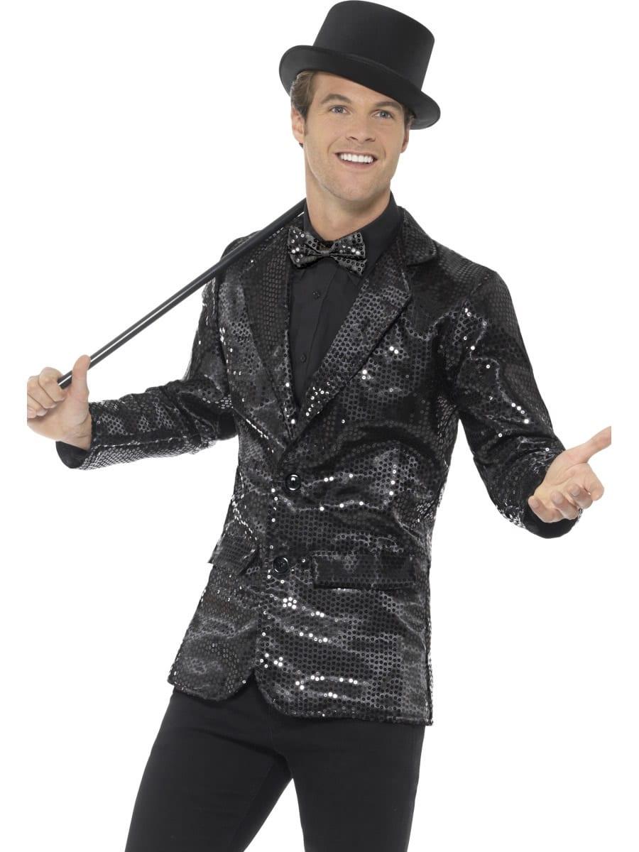 Sequin Jacket Black Men's Fancy Dress Costume