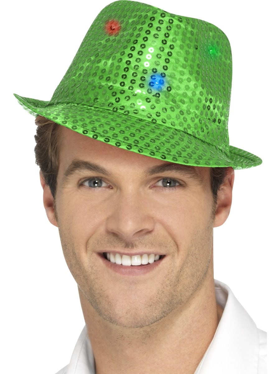 Light Up Sequin Trilby Hat Green
