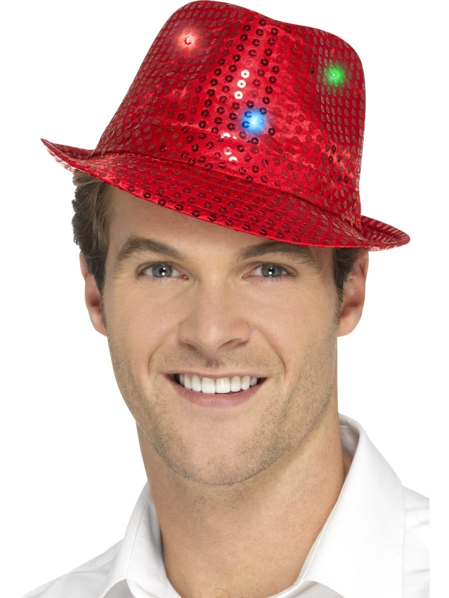 Light Up Sequin Trilby Hat Red