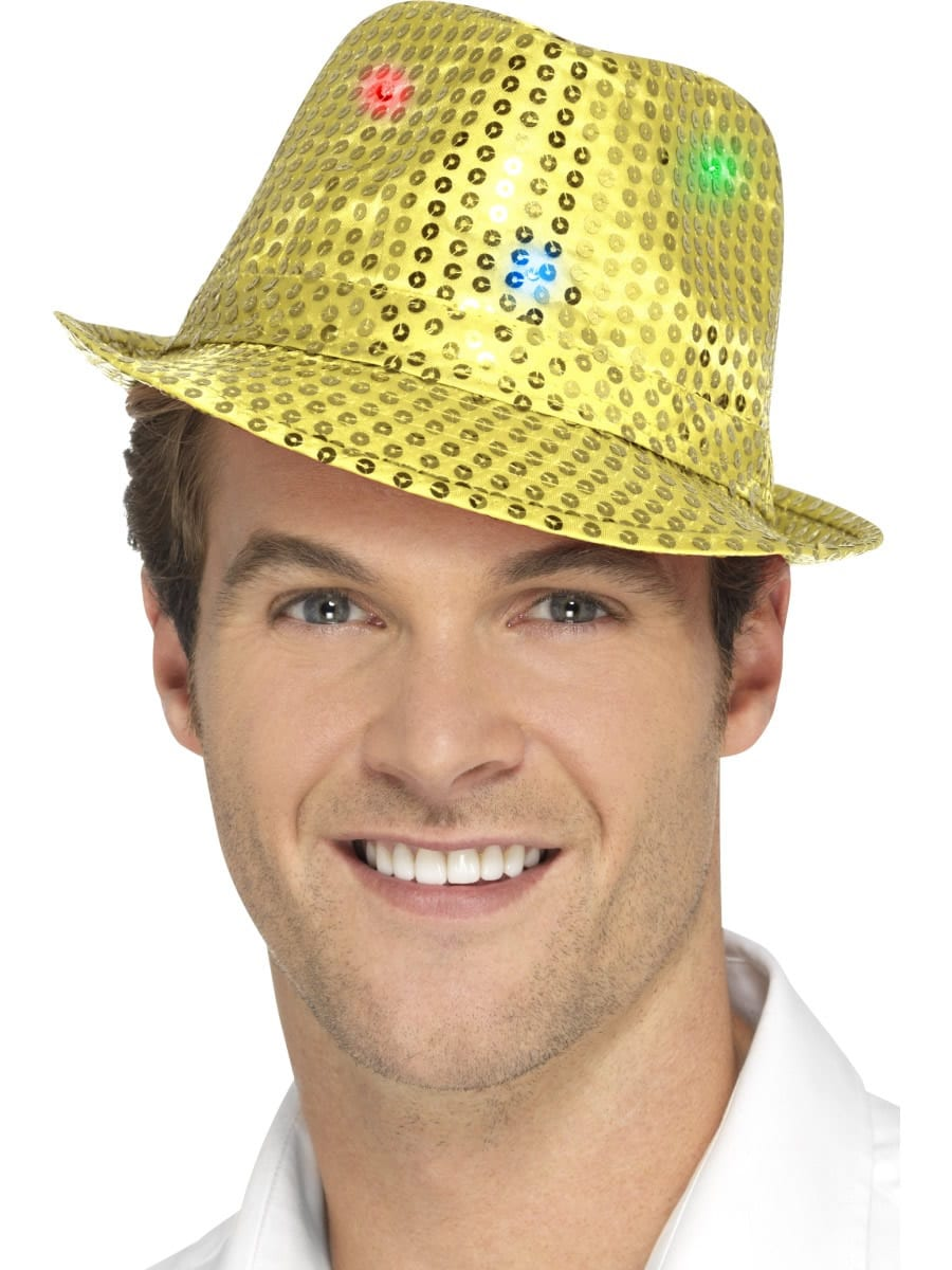 Light Up Sequin Trilby Hat Gold