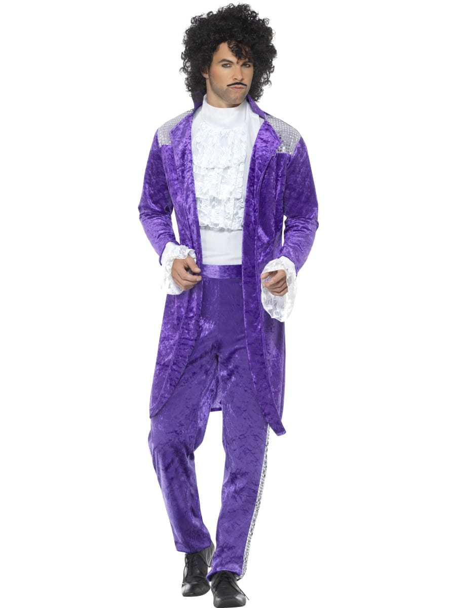 80's Purple Musician (Prince) Men's Fancy Dress Costume