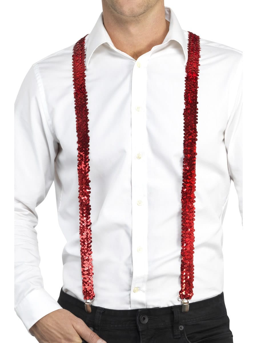 Sequin Braces, Red