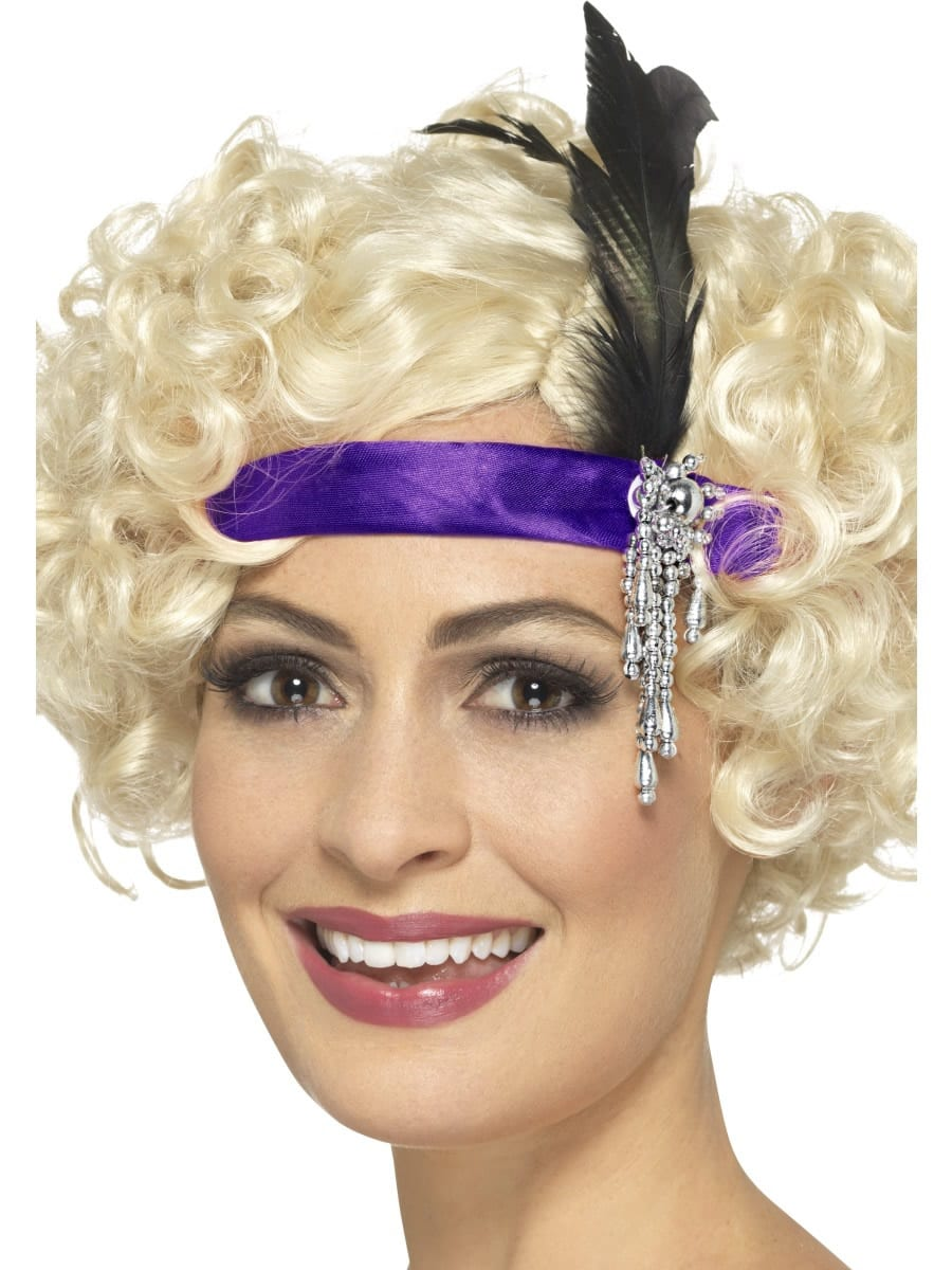 Purple Satin Charleston Headband, with Feather & Jewel Detail