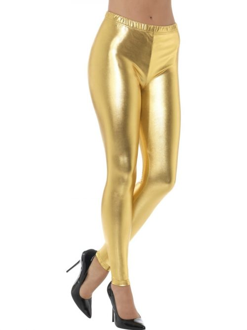 80's Metallic Disco Leggings Gold
