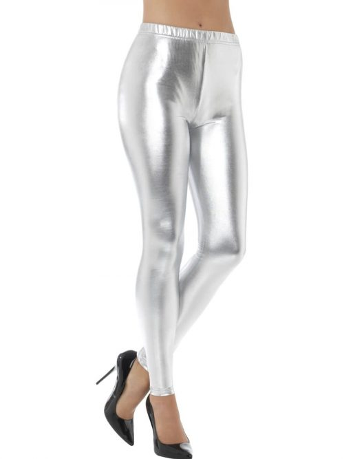80's Metallic Disco Leggings Silver