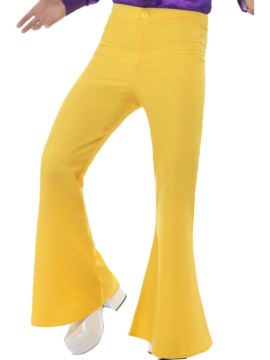 Yellow Flared Trousers Men's Fancy Dress Costume