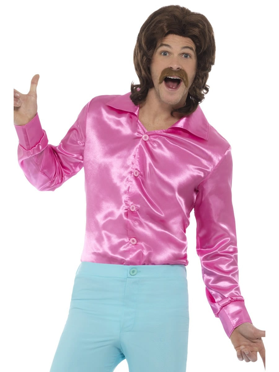 60's Shirt Pink Men's Fancy Dress Costume