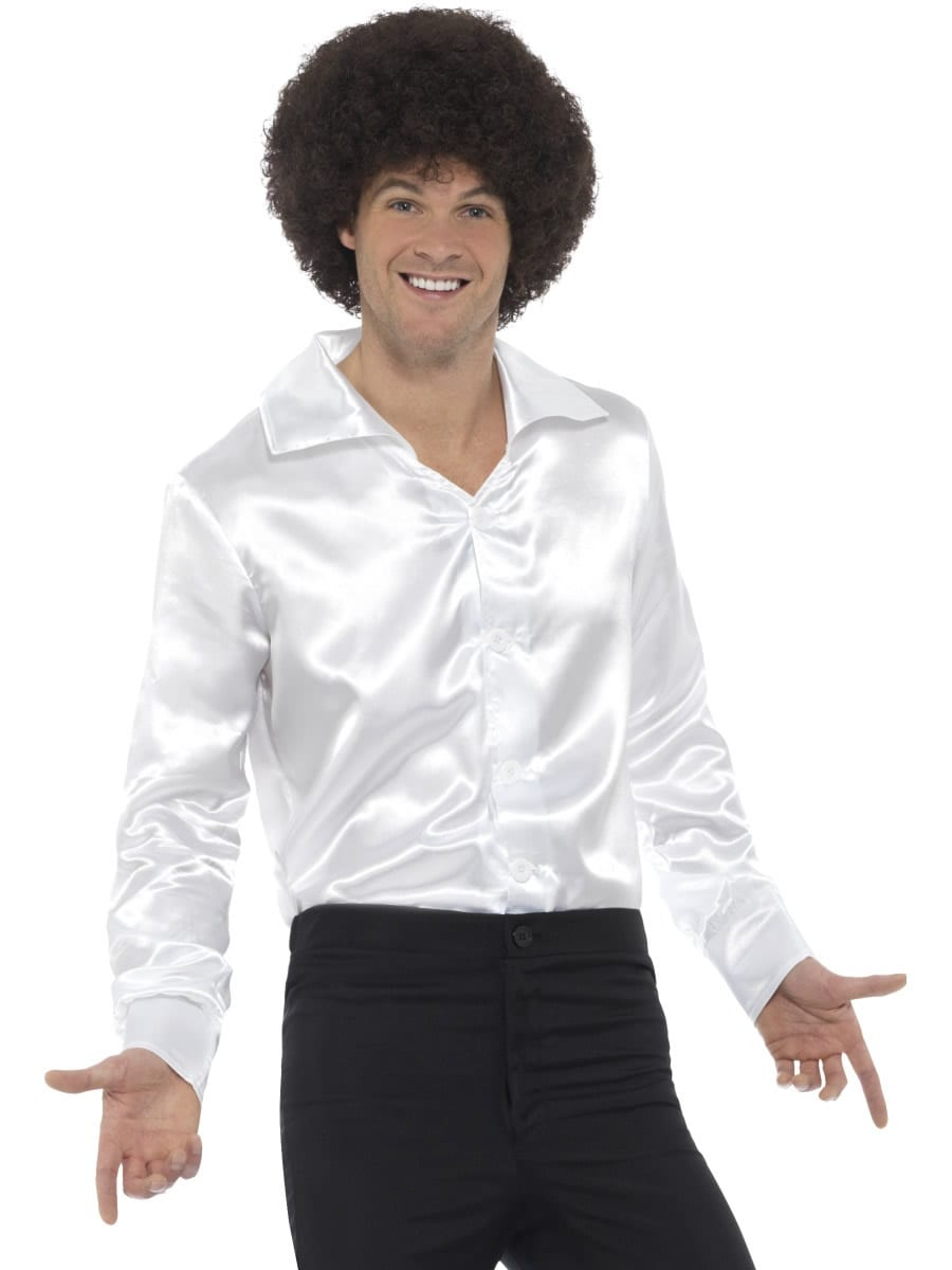 60's Shirt White Men's Fancy Dress Costume